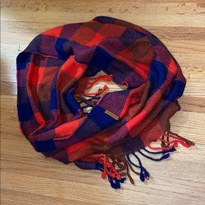 Coach red plaid fringe infinity scarf